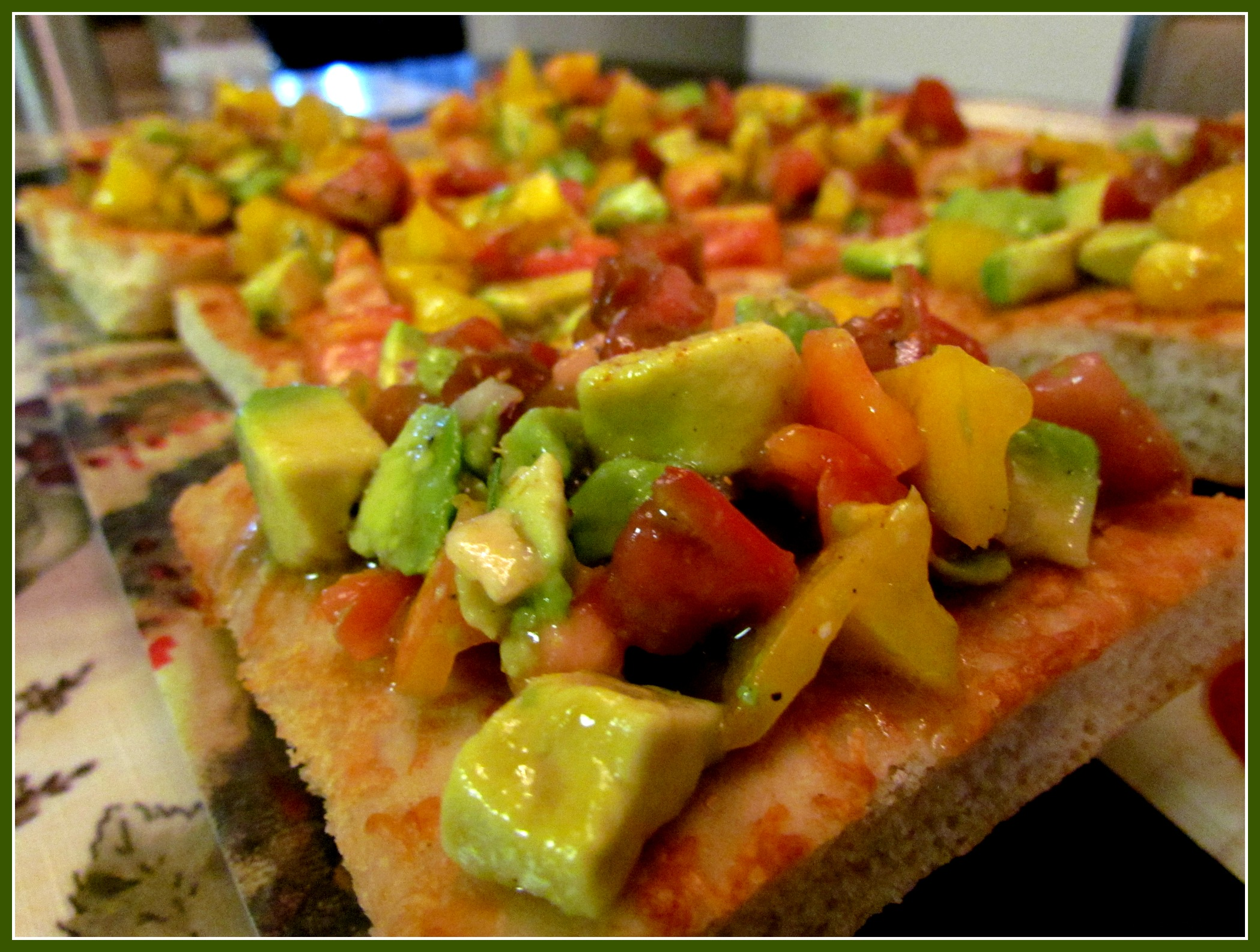 Heirloom & Avocado Bruschetta on Focaccia