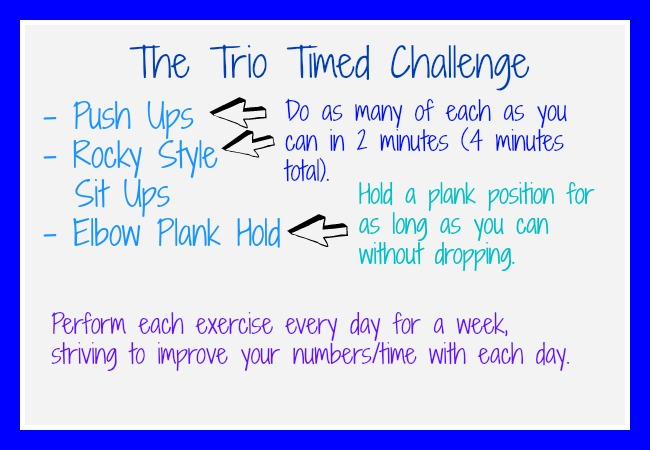 ... exercise challenge that takes just a few minutes to complete. I hardly  ever do timed exercises and thought it'd be interesting to try for a change  of ...
