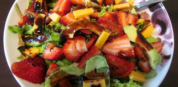 Strawberry Avocado Sunflower Seed Salad with Strawberry Balsamic Dressing