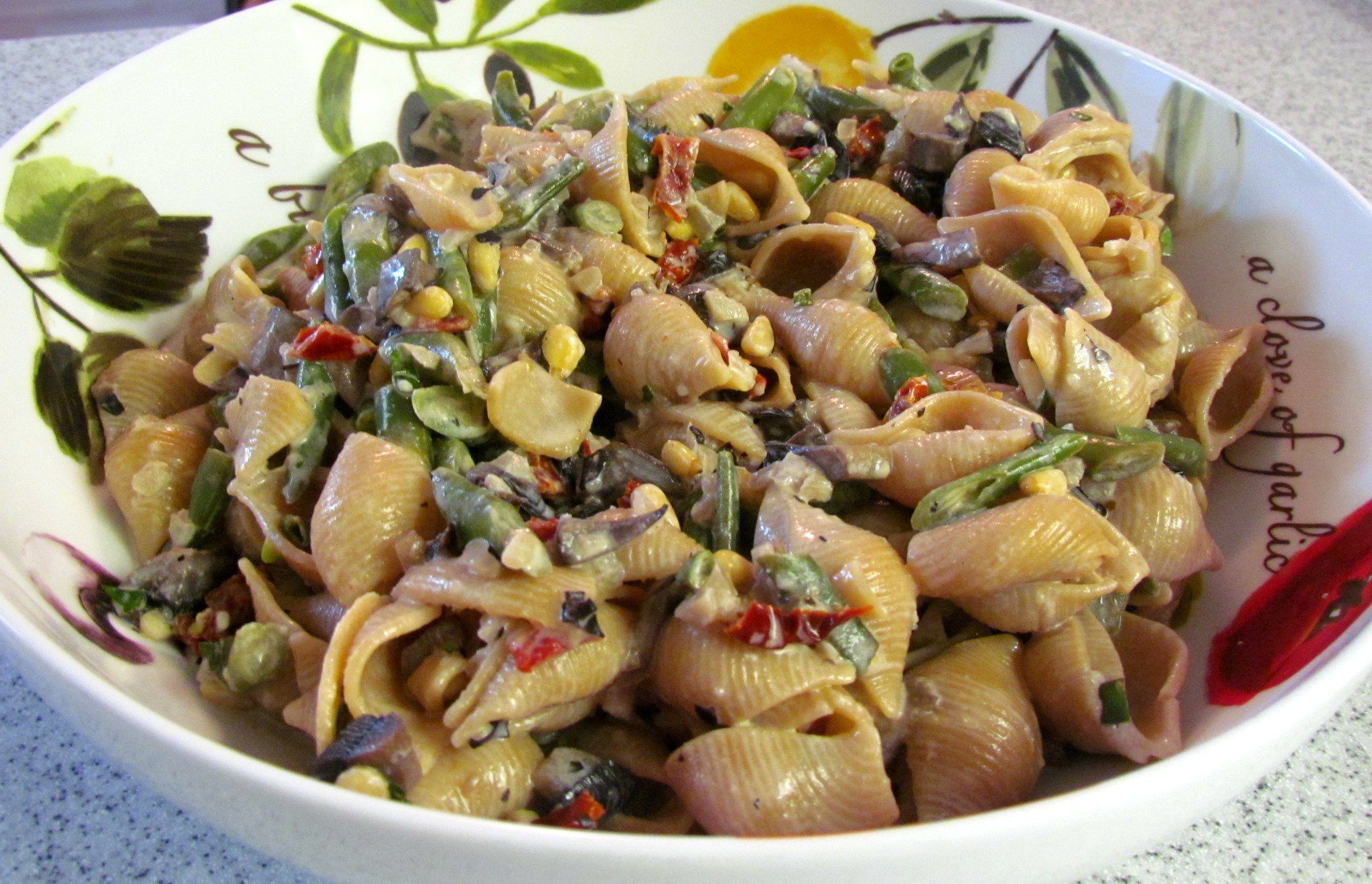 Creamy Pasta Shells with Mushrooms, Green Beans & Pine Nuts