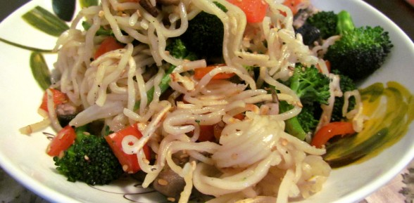 Pan Fried Sesame Chinese Noodles with Veggies