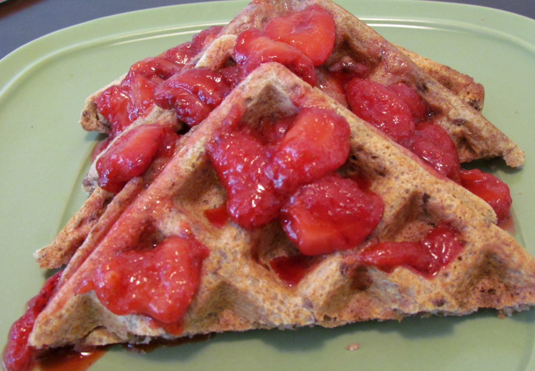 Hearty Whole Wheat Waffles with Strawberry Sauce