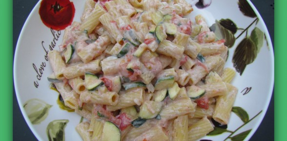 Ricotta Rigatoni with Zucchini, Tomato & Toasted Bread Crumbs
