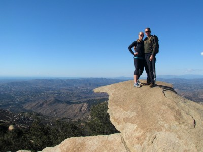 "My hubby and I at the top of ""Potato Chip Rock"" in San Diego"