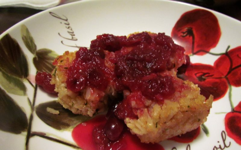 Cheddar Rice Croquettes with Homemade Port Cranberry Sauce