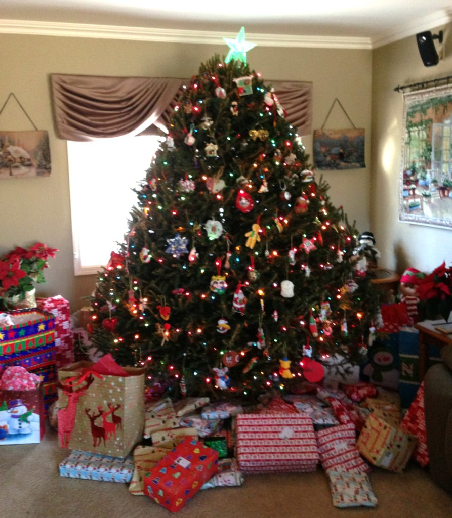 My parents' tree on Christmas morning