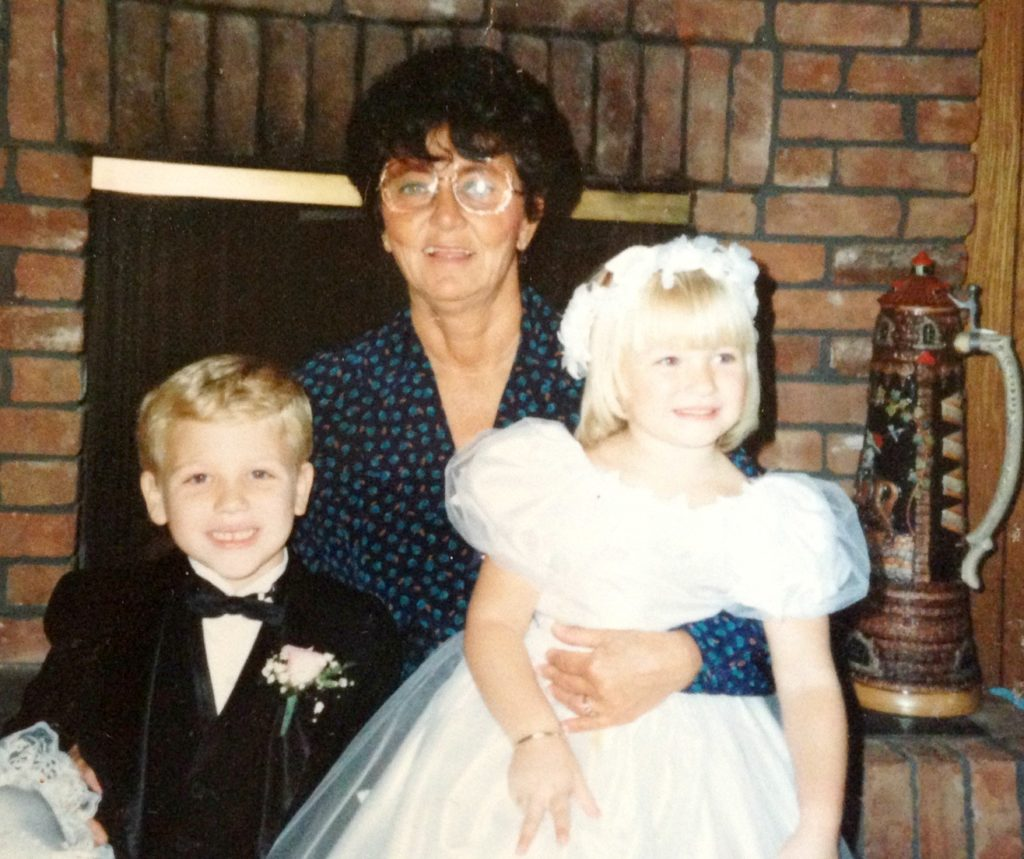 My older brother and me with my grandma before a wedding we were in