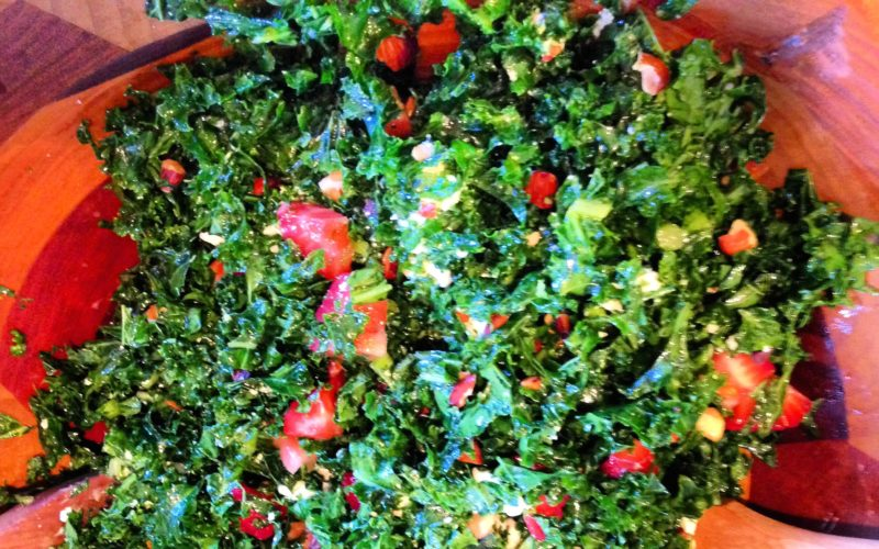 Kale Salad with Strawberries, Goat Cheese & Almonds