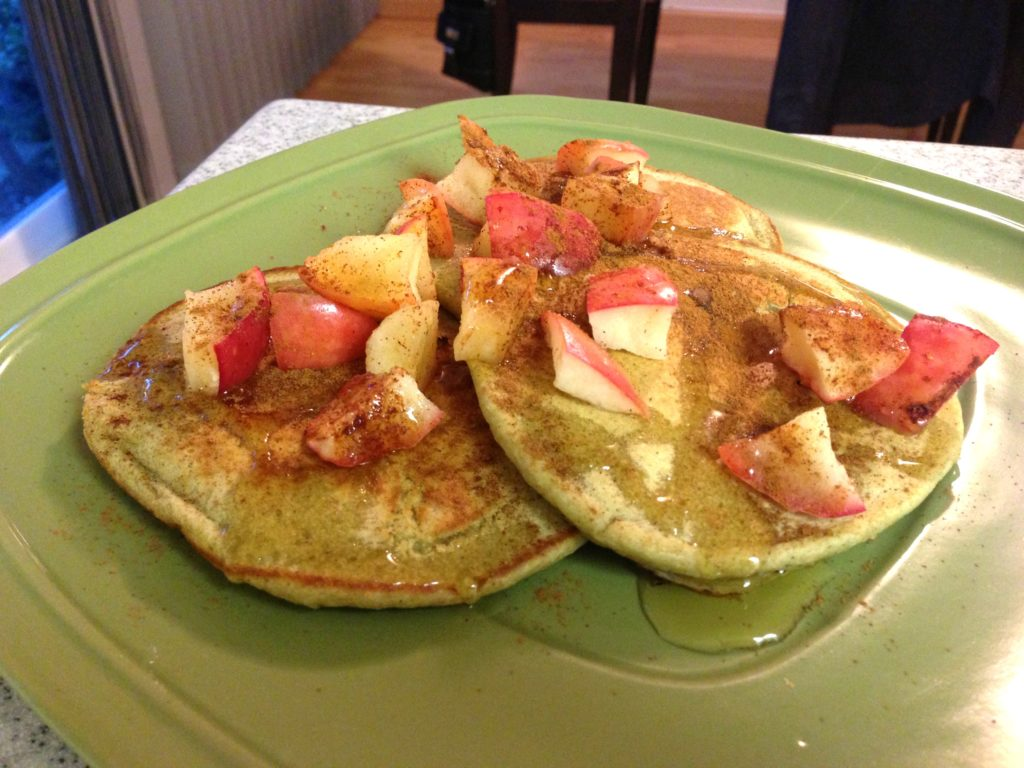 apple matcha pancakes