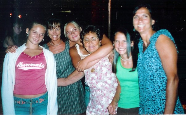 With my sister, mom, grandma, cousin, and aunt years ago
