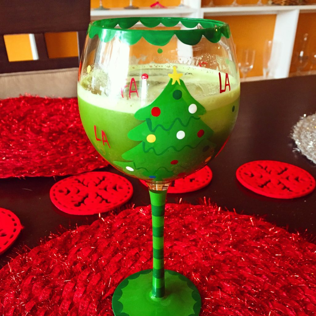 green juice holiday glass