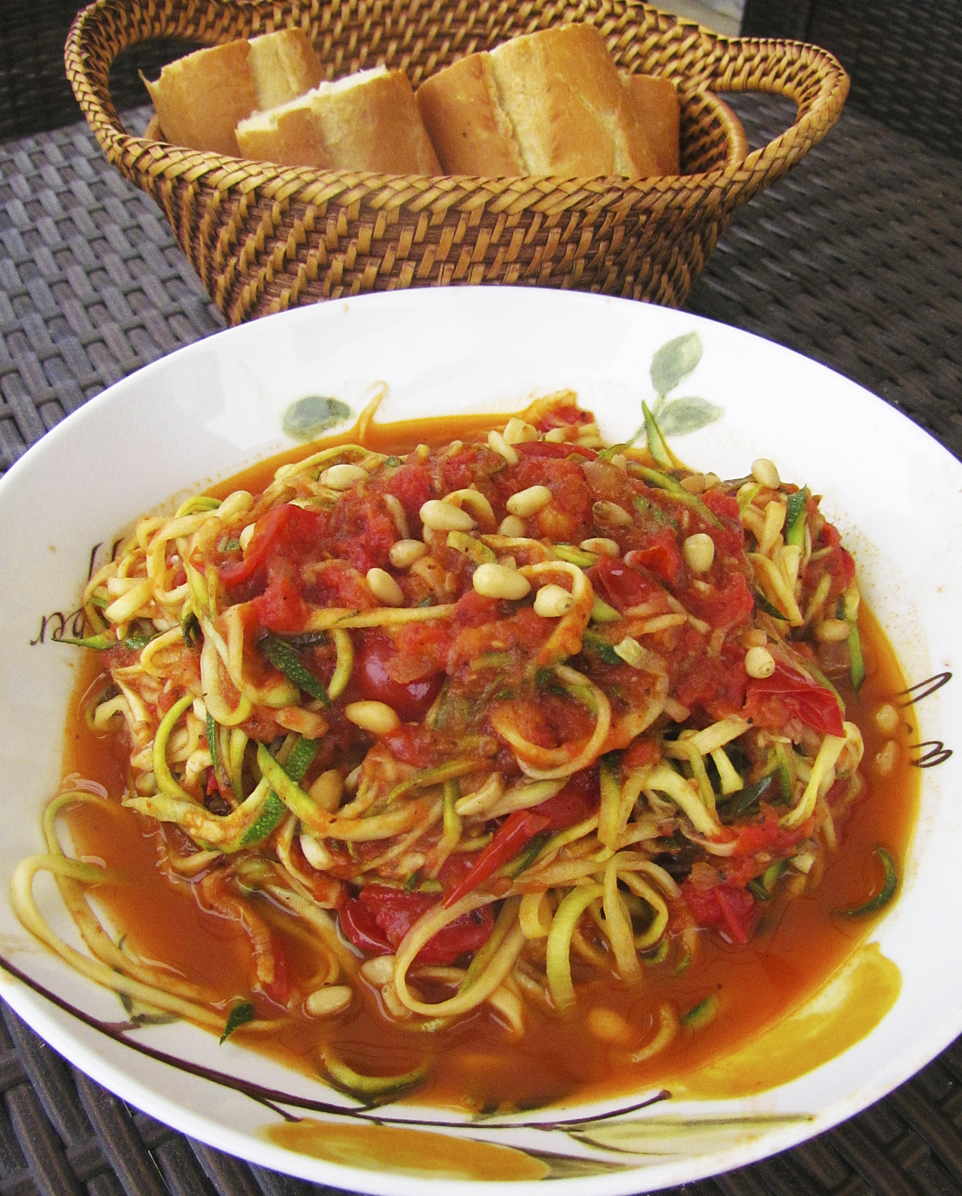 Zoodles with Basil Cherry Tomato Sauce, Pine Nuts & Lemon Zest