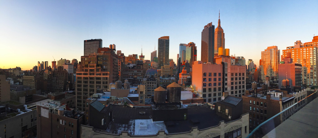 NYC rooftop bar skyline