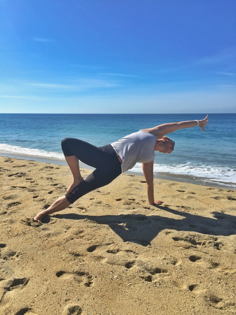 side plank on the beach