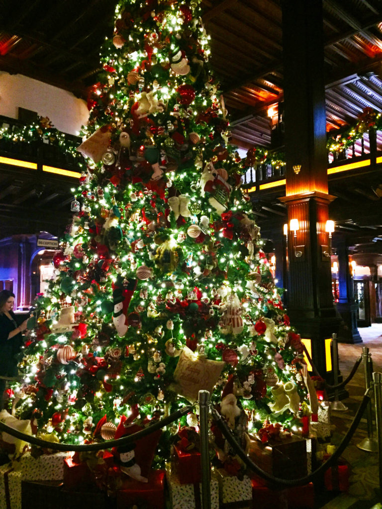 The Christmas tree in the hotel's lobby