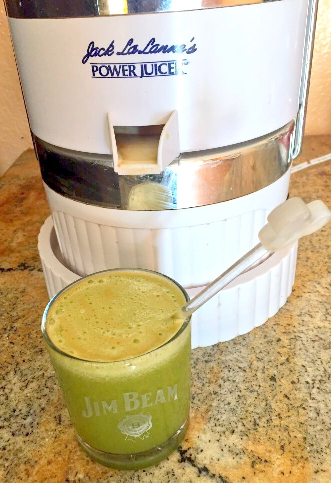 Making green juice in a Jim Beam glass yesterday... how's that for polar opposites?