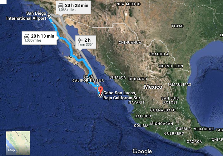 Cabo travel route