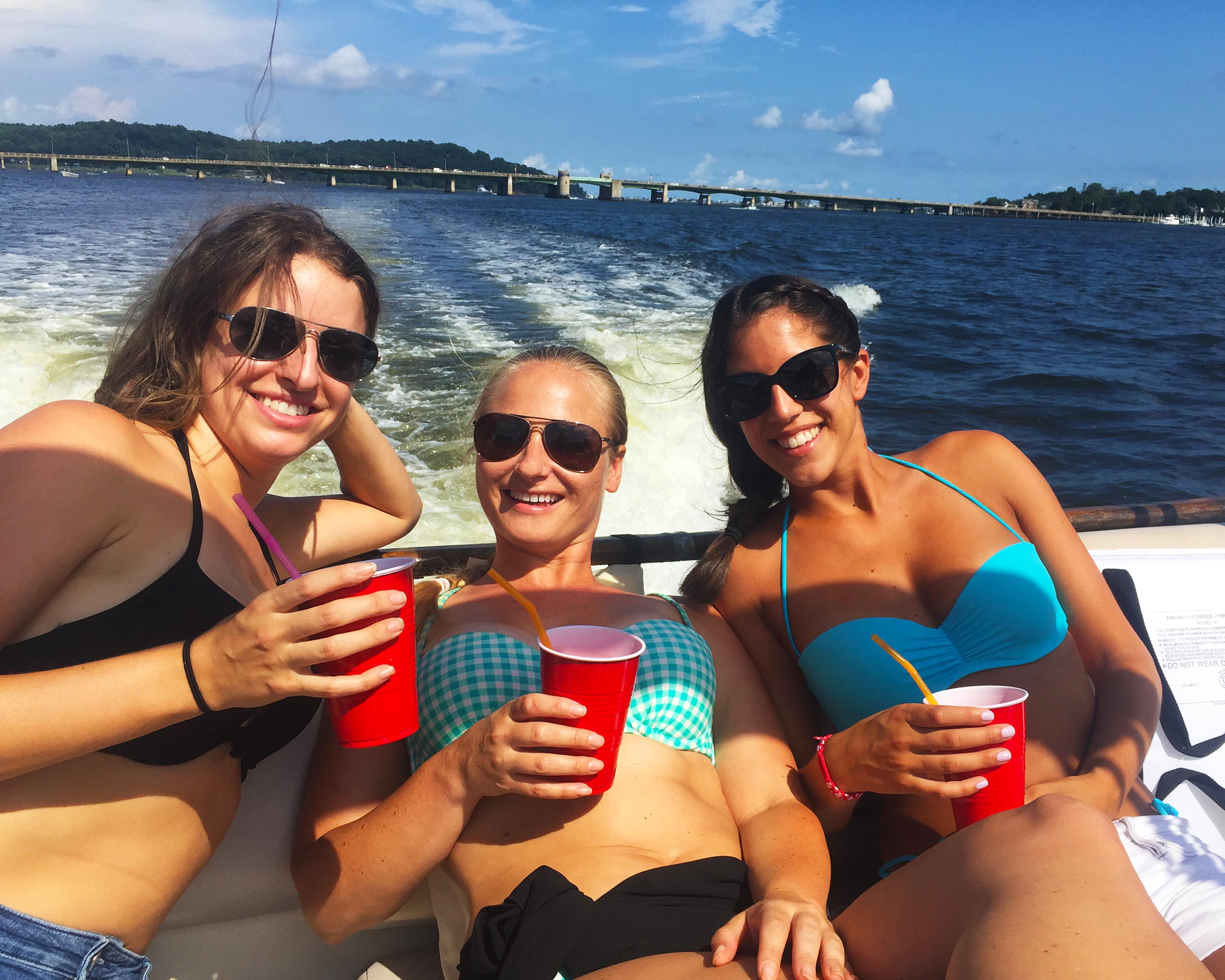 boat riding with girlfriends