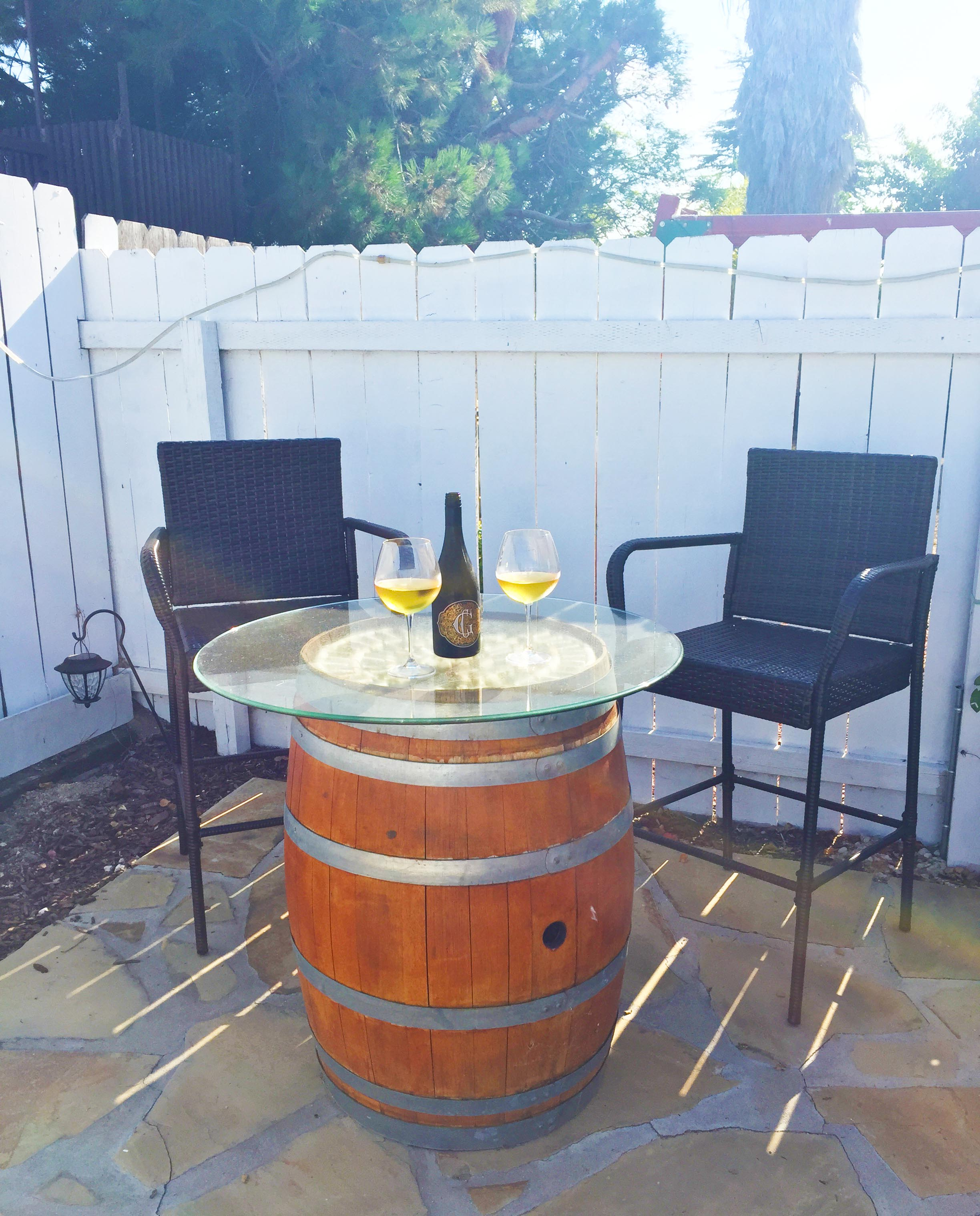 Diy time wine barrel cocktail table tutorial foodie for 1 2 wine barrel table