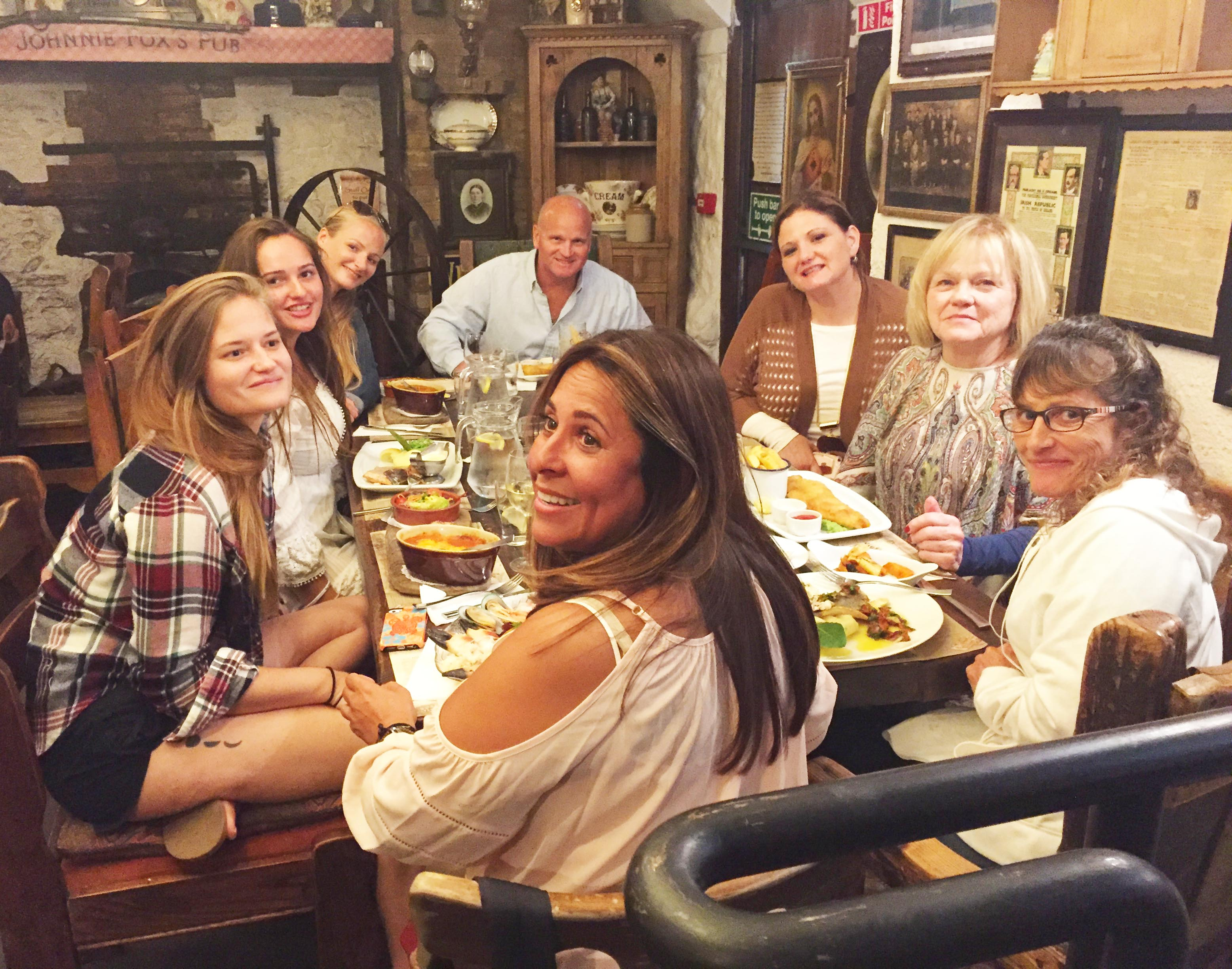With my uncle, aunt, grandmother, mom, aunt, sister & cousin at Johnnie Fox's