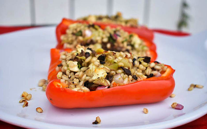 Mediterranean Barley Stuffed Peppers