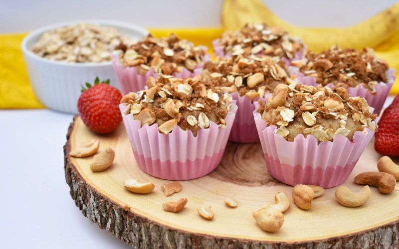 Strawberry Banana Muffins with a Cashew Crumble {dairy free + gluten free}