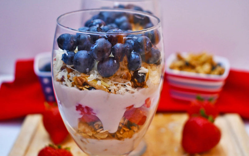 Blueberry Granola, Berry & Coconut Yogurt Parfaits {vegan + gf}