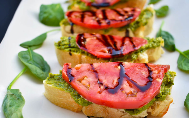 Avocado Pistachio Pesto & Tomato Crostini  [vegan]