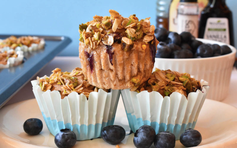 Healthy Blueberry Pistachio Crumb Muffins {dairy free}